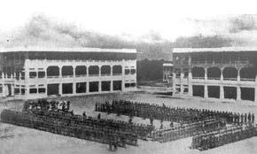 2nd Gordons on parade at Selarang Barracks