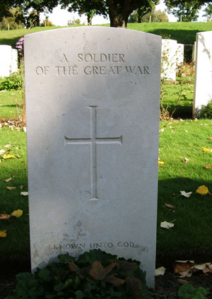An unknown soldier's grave, Essex Farm Cemetery, Ypres, Flanders